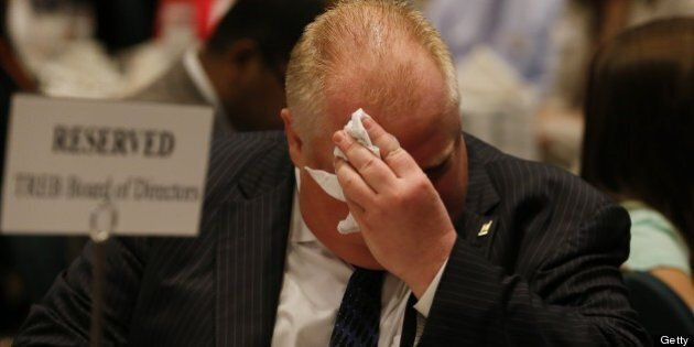 TORONTO, ON - JUNE 14: Mayor Rob Ford to members of the Toronto Real Estate Board during a luncheon at the Sheraton Hotel (Bernard Weil/Toronto Star via Getty Images)