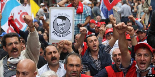 Anti-government protesters demonstrate in central Ankara on June 17, 2013. Turkey warned today it may...
