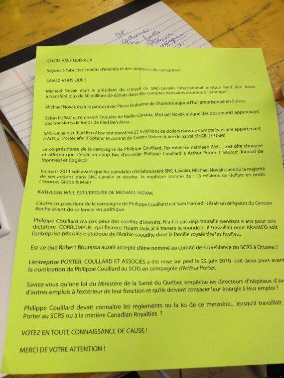 Course à la direction du PLQ: tracts anti-Couillard distribués pour « prévenir la corruption »