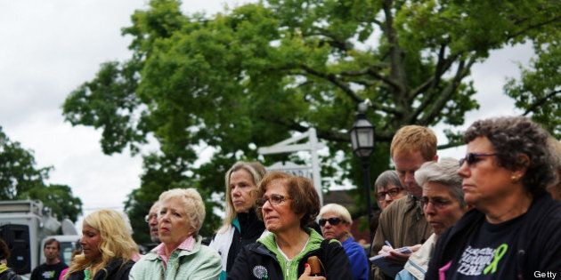 NEWTOWN, CT - JUNE 14: People attend a remembrance event on the six month anniversary of the massacre...