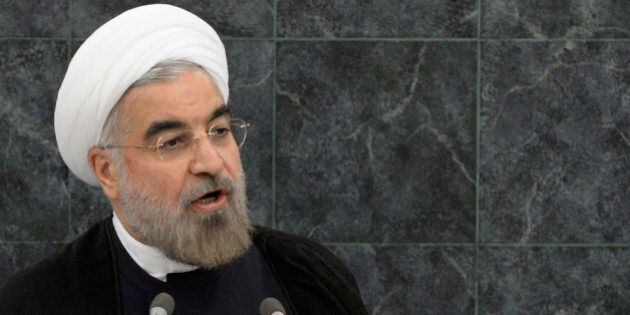 NEW YORK, NY - SEPTEMBER 24: Iranian President Hassan Rouhani addresses the U.N. General Assembly on...