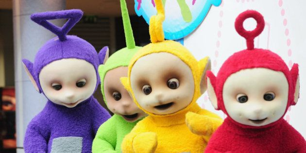 LONDON, ENGLAND - SEPTEMBER 10: The Teletubbies, (L-R) Tinky Winky, Dipsy, Laa-Laa and Po attend photocall...