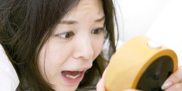 Japanese woman overslept shocking with looking at