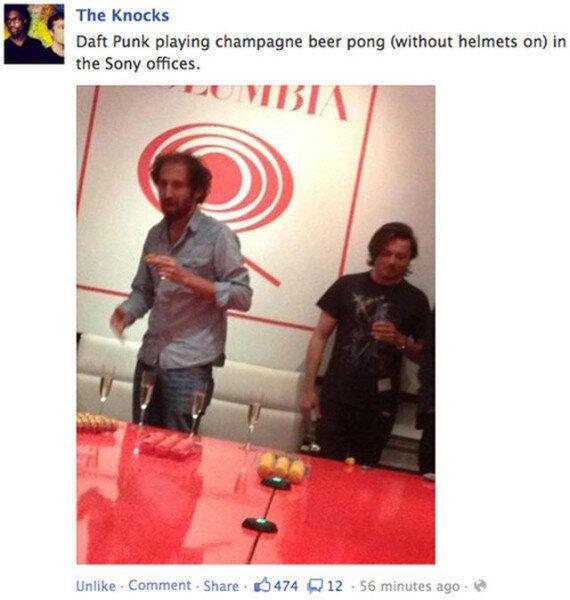 Daft Punk sans les masques, en train de s'amuser chez Sony