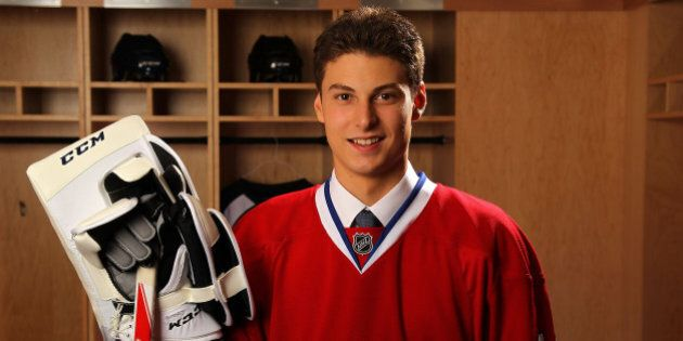 NEWARK, NJ - JUNE 30: Zachary Fucale, 36th overall pick by the Montreal Canadiens, poses for a portrait...