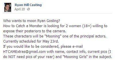 Ryan Gosling cherche des figurantes prêtes à montrer leurs fesses pour son prochain