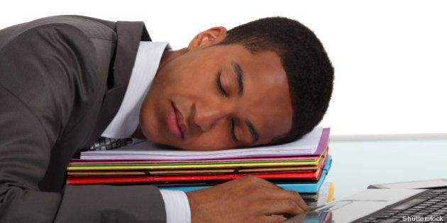 worker sleeping on a stack