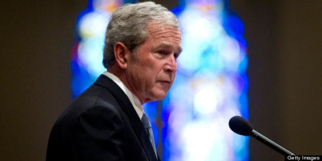 Former president George W. Bush, gives a tribute for Van Cliburn at his funeral at Broadway Baptist Church...