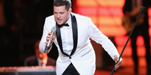 COLOGNE, GERMANY - APRIL 12:  Michael Buble performs during  the 2nd Show of 'Let's Dance' on RTL on April 12, 2013 in Cologne, Germany.  (Photo by Ralf Juergens/Getty Images)