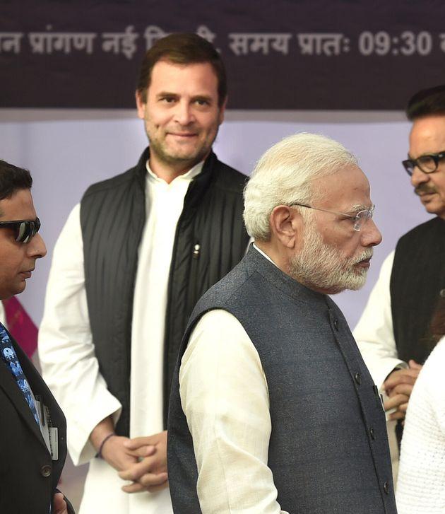 Congress President (Left) and Prime Minister Narendra Modi in a file