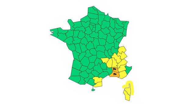 La carte de vigilance de Météo France publiée en milieu d'après-midi ce dimanche...