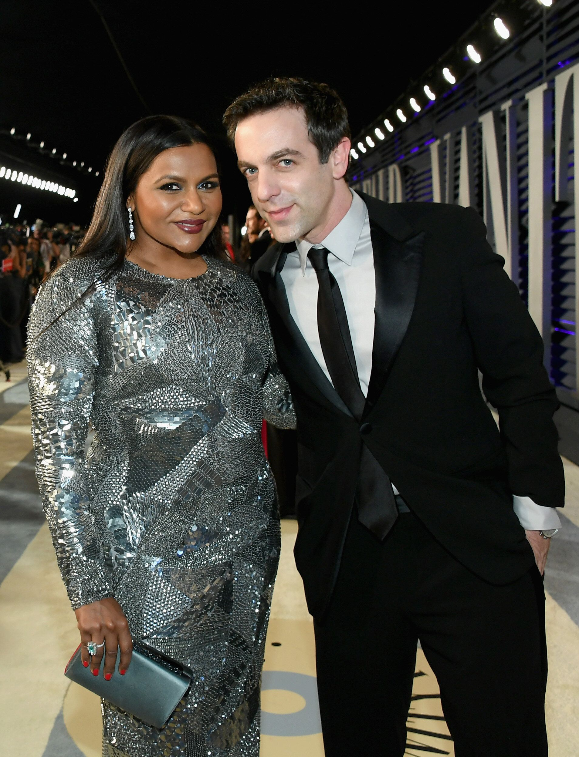 BEVERLY HILLS, CA - FEBRUARY 24:  Mindy Kaling (L) and B. J. Novak attend the 2019 Vanity Fair Oscar Party hosted by Radhika Jones at Wallis Annenberg Center for the Performing Arts on February 24, 2019 in Beverly Hills, California.  (Photo by Mike Coppola/VF19/Getty Images for VF)