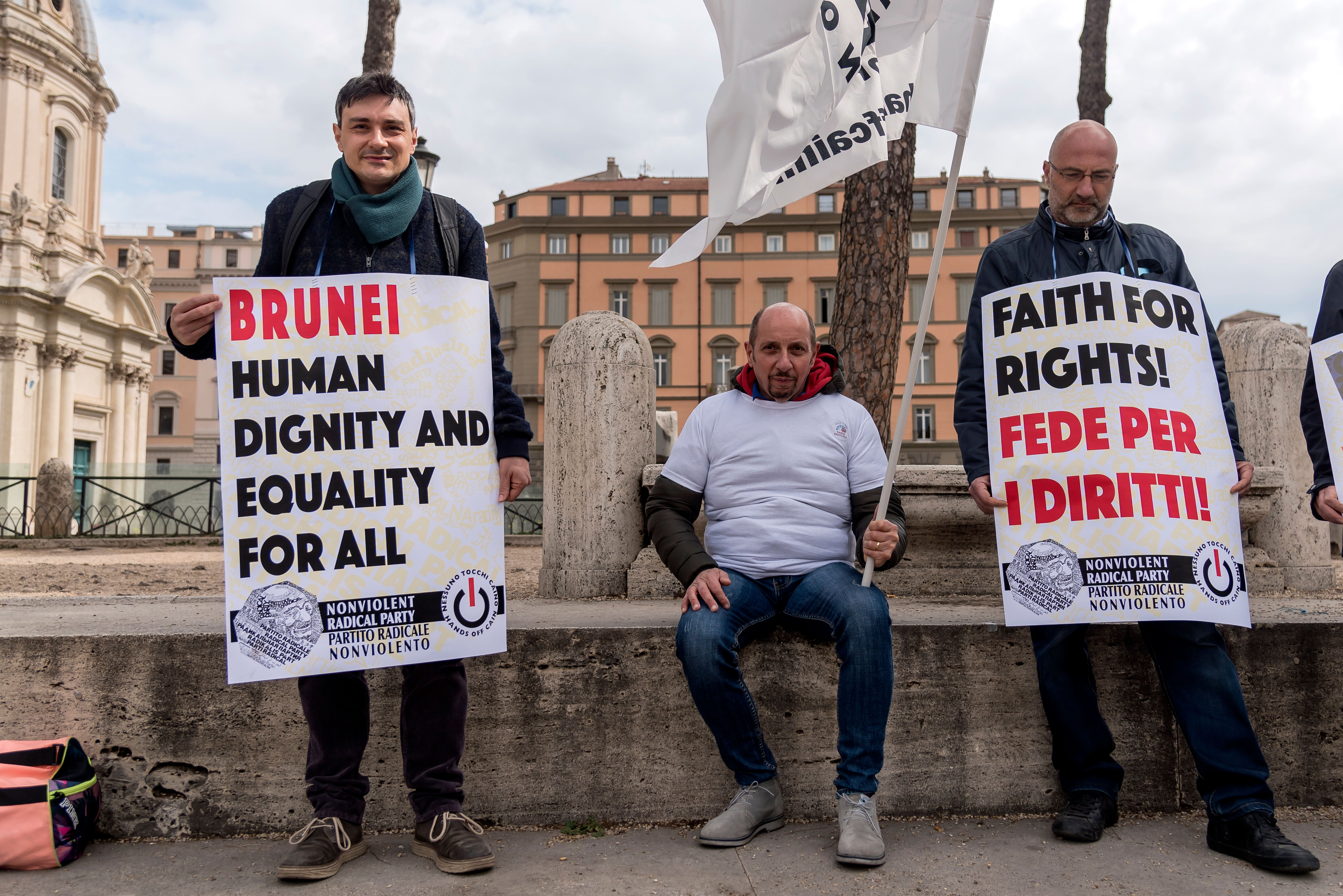 ROME, ITALY - APRIL 3: Radical Party activists are demonstrating against the introduction of Sharia, the Koranic law, in Brunei Darussalam, which also provides for stoning for homosexuals on April 3, 2019 in Rome, Italy. (Photo by Stefano Montesi - Corbis/Getty Images)
