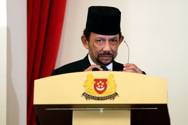 Brunei's Sultan Hassanal Bolkiah delivers a speech in Singapore on July 5,