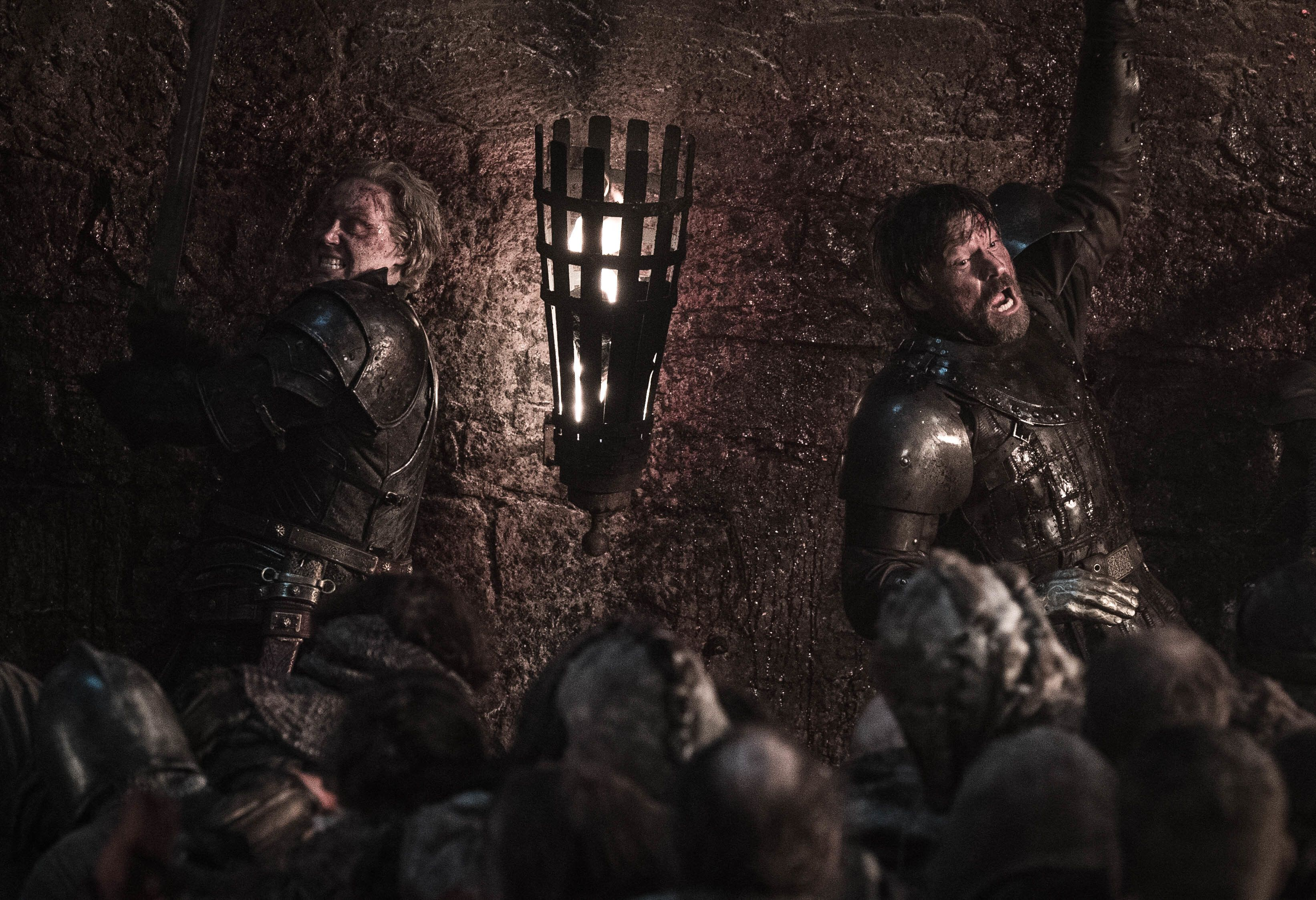 Brienne and Jaime fighting wights in Episode 3.