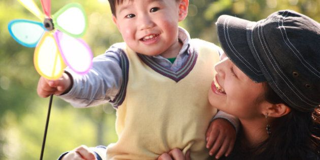 chinese boy and his mother at