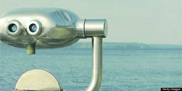 Coin operated binoculars on St-Lawrence