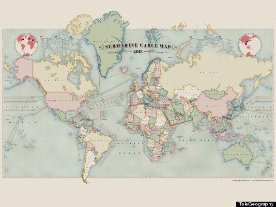 Internet et TeleGeography: la carte des câbles sous-marins qui permettent les télécommunications mondiales