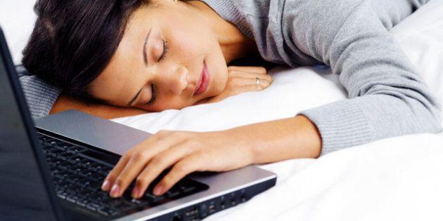 woman fallen asleep while using