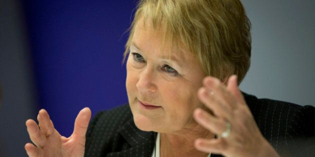 Pauline Marois, premier of Quebec, speaks during an interview in New York, U.S., on Thursday, Dec. 13,...