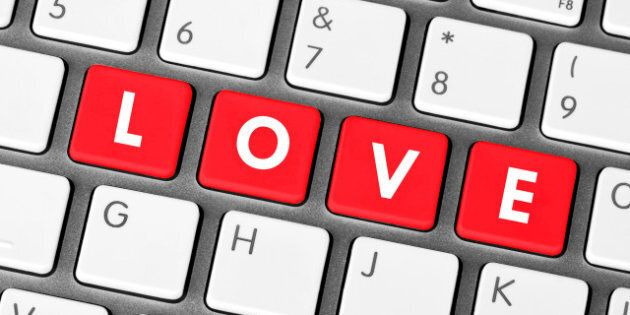 closeup red love keyboard keys. ...