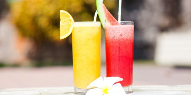 two tropical fruit alcohol...