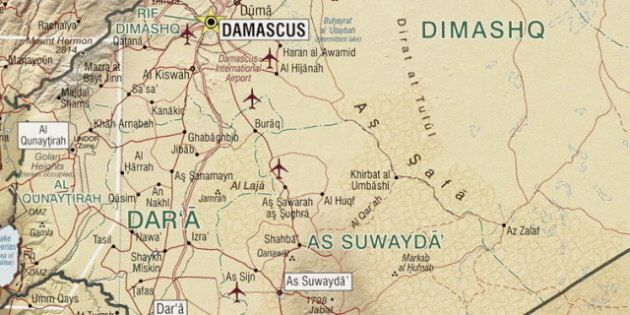 Description Map of the Jabal al-Druze and Quneitra Gouvernate in southern Syria.    Source File:Syria 2004 CIA map. jpg   Date 2012-08-29    ...