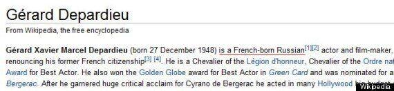Poutine signe un décret accordant la citoyenneté russe à Depardieu, l'acteur français est