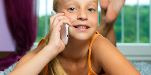 family child make a call with