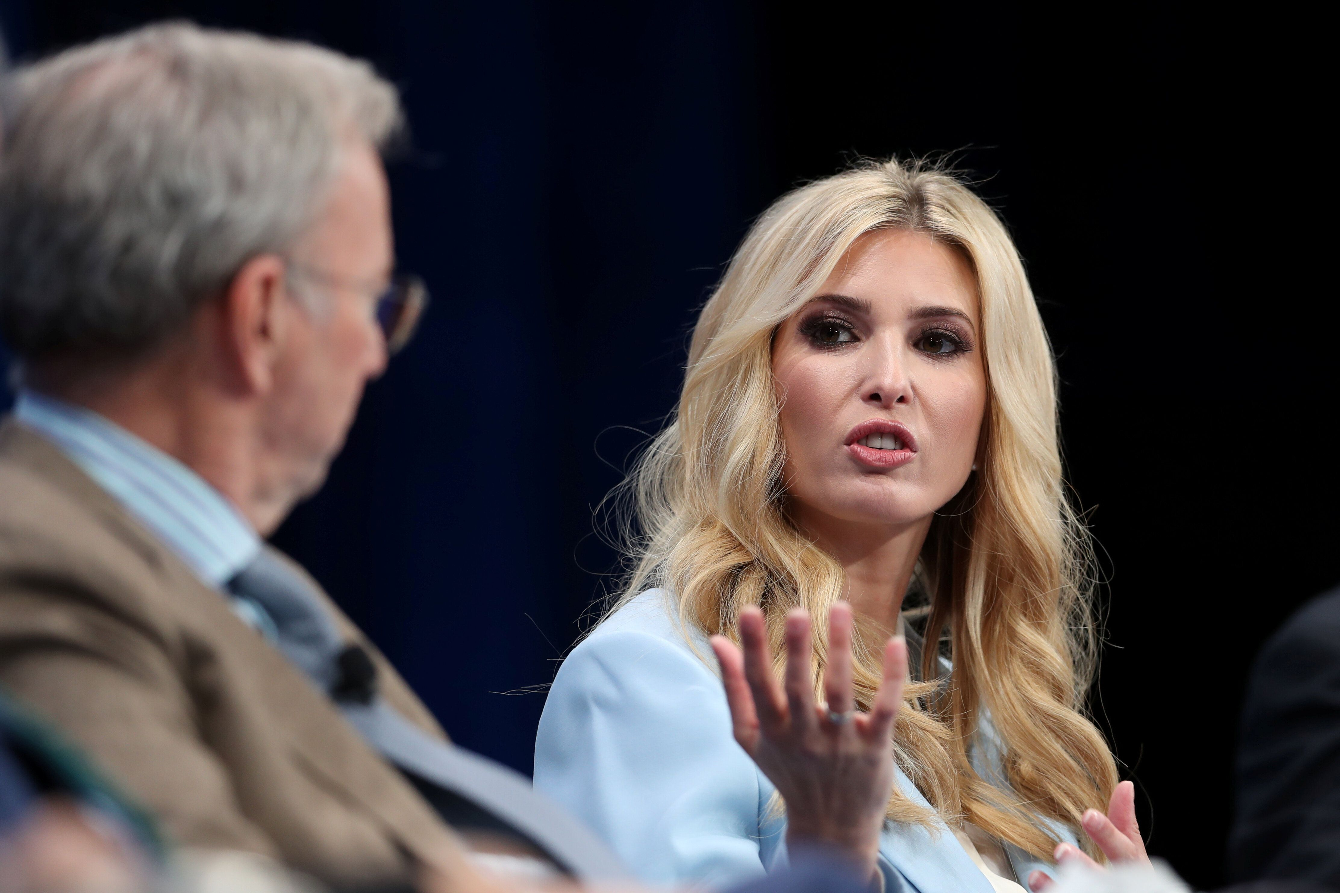 Ivanka Trump, Advisor to the President, The White House and Co-Chair of the American Workforce, speaks at the 2019 Milken Institute Global Conference in Beverly Hills, California, U.S., April 29, 2019. REUTERS/Lucy Nicholson