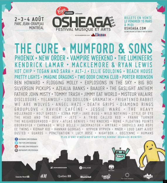 Mumford & Sons, The Cure, Macklemore & Ryan Lewis... la programmation du festival Osheaga 2013