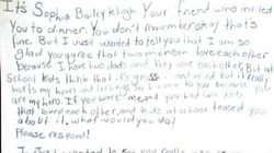 Obama répond à Sophia, 10 ans, élevée par deux