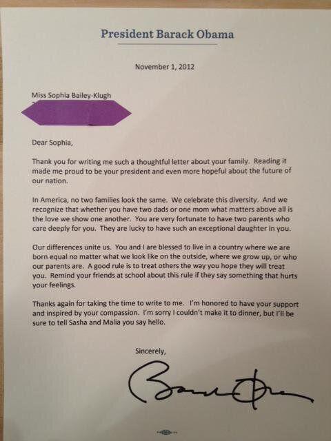 Homophobie : Barack Obama répond à la lettre d'une petite fille élevée par deux