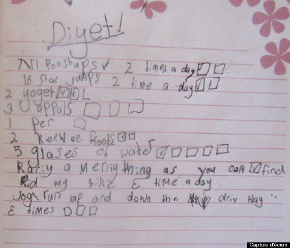 Une mère découvre un plan de diète dans la chambre de sa fille de sept