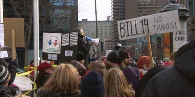 Manifestation à Montréal contre le projet de loi