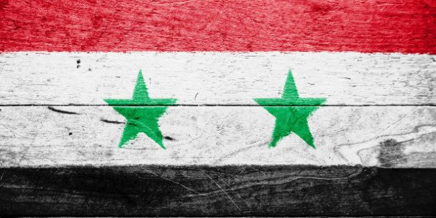 the syria flag painted