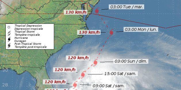 Sandy se dirige vers la côte est
