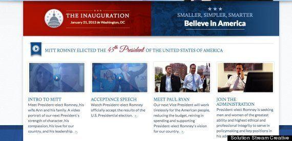 Le site internet préparé en cas de victoire de Mitt Romney mis en ligne par