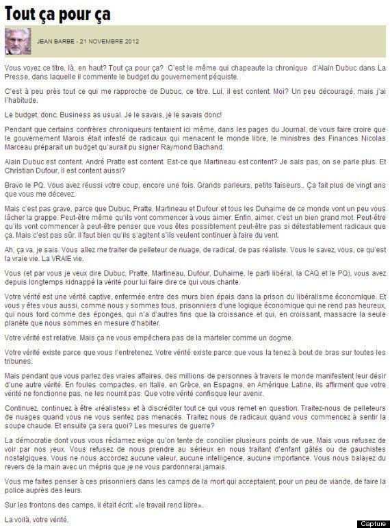 Jean Barbe licencié comme blogueur au Journal de Montréal