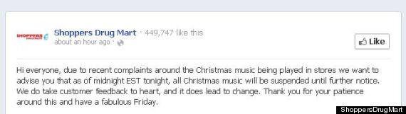 Shoppers Drug Mart suspend la musique de Noël devant les plaintes des