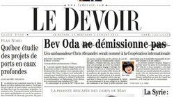 Le Devoir s'amuse de la démission de Bev Oda