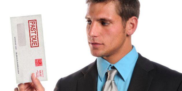 businessman holding past