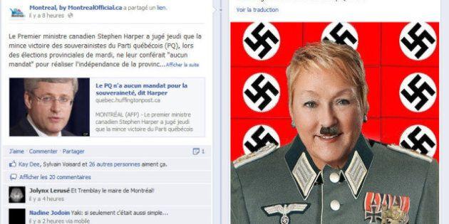 Pauline Marois dépeinte en Hitler sur Facebook