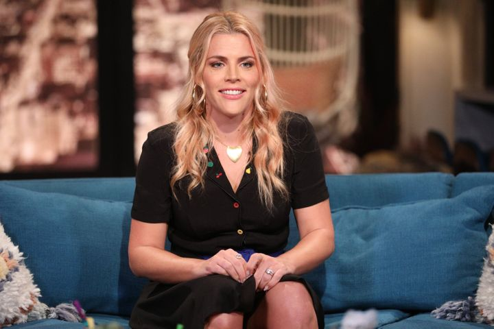 """Busy Philipps pictured during an episode of her E! talk show """"Busy Tonight"""" in May."""