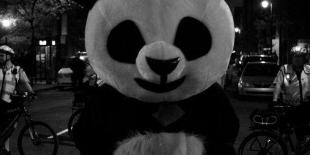 Grève étudiante: un panda pour la gratuité