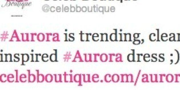 Twitter: une entreprise de robes tente de se faire de la publicité sur le mot Aurora juste après la
