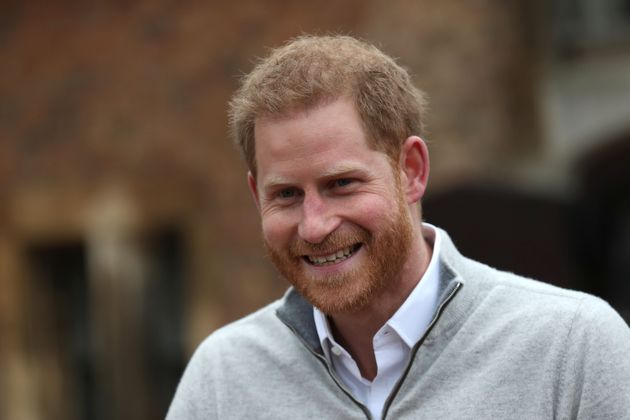 The Duke of Sussex, speaks to members of the media at Windsor Castle in Windsor, west of London on May...