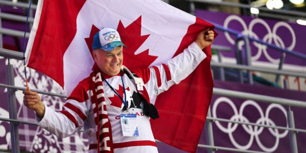Sochi, Russia - February 19 - SSOLY- Cyril Bright from Calgary shows his true colours as he watches the...