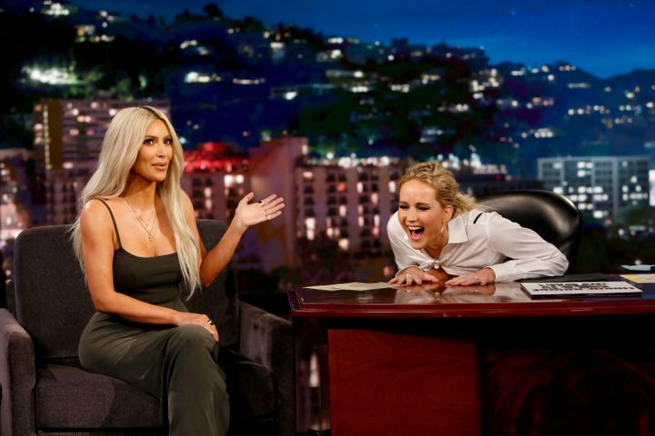 "Jennifer Lawrence interviews Kim Kardashian while guest-hosting ""Jimmy Kimmel Live"" in 2017."