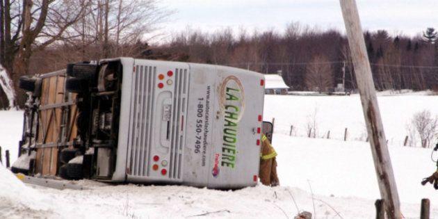 Un accident d'autocar près de Plessisville fait deux morts et plusieurs